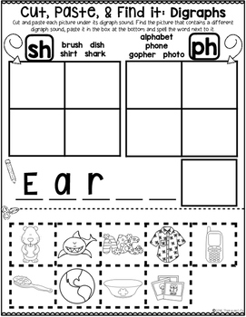 Cut Paste and Find It Vowel Pairs Digraphs and Diphthongs Sort