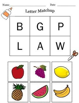 Cut & Paste-Fruit Letter Match