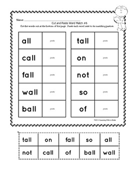 Word Work - Cut, Paste, Learn! -Great for Intervention & Small Groups