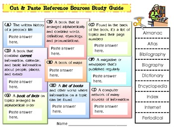 Cut & Paste Reference Sources Study Guide