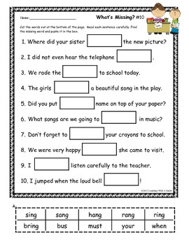Sentence Fill-Ins ~ What's Missing? ~ Cut & Paste
