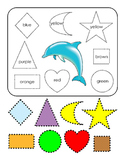 Cut Paste Shapes Art Spell Colors Blue Brown Yellow Red Orange Purple Green 2pgs