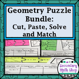 Geometry Puzzles (Growing) Bundle:  Cut, Paste, Solve, Mat