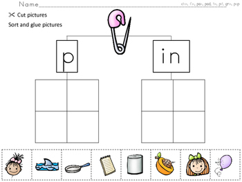 Cut/Paste/Sort Beginning and Rhyming Sounds