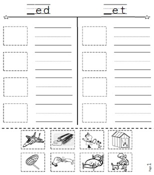 Cut and Paste & Spell Phonics Picture Sorting Worksheets-Book 1-Word Families