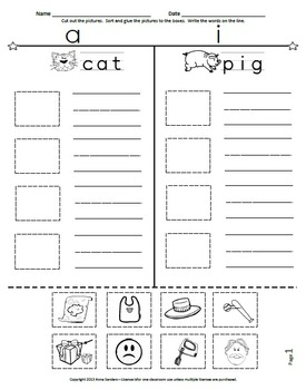Cut and Paste & Spell Phonics Picture Sorting Worksheets-Book 2-CVC-Short Vowels