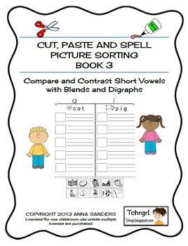 Cut and Paste & Spell Phonics Picture Sorting Worksheets-Book3-Blends & Digraphs