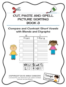 Cut and Paste & Spell Phonics Picture Sorting Worksheets Blends & Digraphs FREE