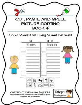 Cut and Paste & Spell Phonics Picture Sorting Worksheets-Book 4-LONG VOWELS