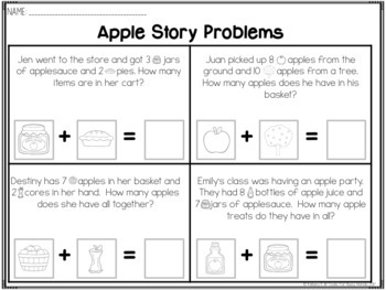 Cut & Paste Story Problems:  Touch Math Addition to 10