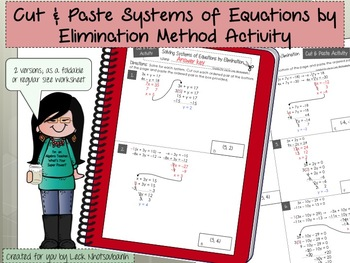 Cut & Paste Systems of Equations by Elimination Method Activity