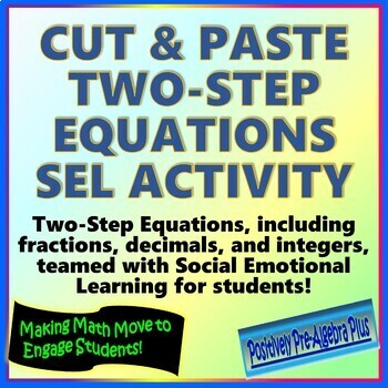 Cut & Paste Two-Step Equations SEL Activity Distance Learning