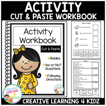 Cut & Paste Activity Workbook Riddles Inference ABA  Autism