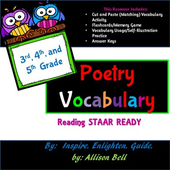 3rd, 4th, 5th Grade: STAAR Ready: Cut, Paste, and Match Up!  Poetry Vocabulary