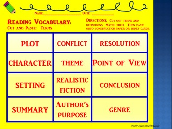 STAAR READING:  Cut, Paste, and Match Up!  Reading Vocabulary