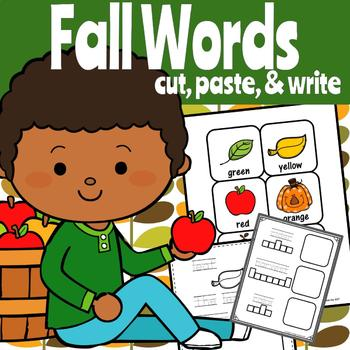 Cut, Paste, and Write Fall Words