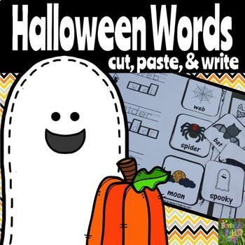 Cut, Paste, and Write Halloween Words