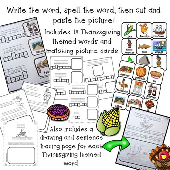 Cut, Paste, and Write Thanksgiving Words