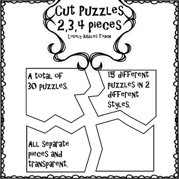Cut Puzzles 2, 3, and 4 Pieces