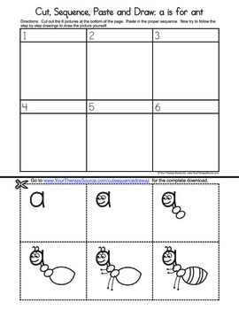 Cut, Sequence, Paste and Draw the Letter A Freebie