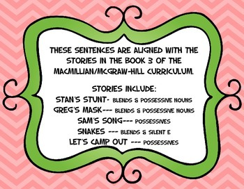 Scrambled Sentences: Blends, Possessive Nouns, & Silent E