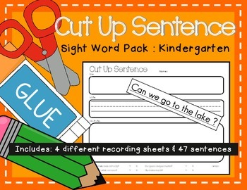 Cut Up Sentence: Sight Word Pack Kindergarten