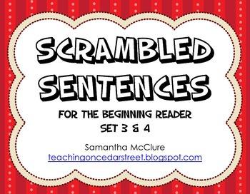Scrambled Sentences: Beginning Reader Set 3 & 4