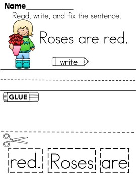 Cut-Up Sentences For Valentine's Day
