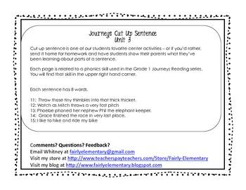 Cut Up Sentences Journeys Unit 3