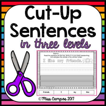 Cut Up Sentences Kindergarten