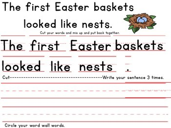 Cut Up Sentences for Easter