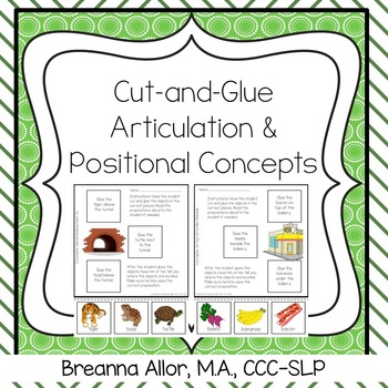 Cut and Glue Articulation and Positional Concepts Packet