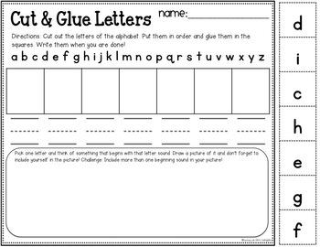 Cut and Glue Center for Kindergarten