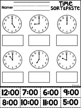 Cut and Glue Clock Sort