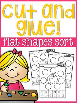 Cut and Glue Flat Shapes Sort