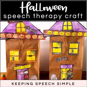 Cut and Glue Haunted House Activity for Speech Therapy