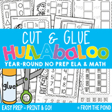 No Prep Worksheet Activities for Kindergarten - Cut and Glue Hullabaloo