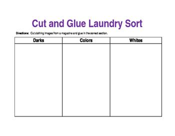 Cut and Glue Laundry Sort