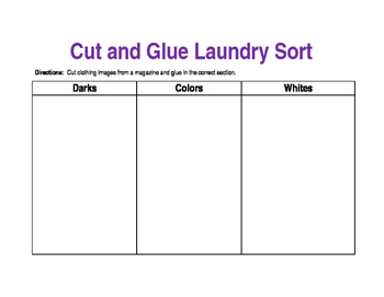 Cut and Glue Laundry Sort