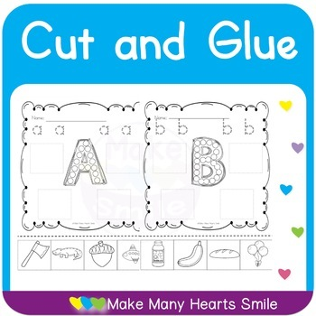 Cut and Glue Letters Worksheets