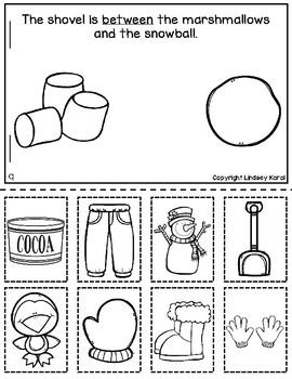 Cut and Glue Preposition Books for Winter