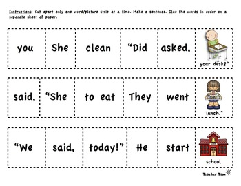 Second Grade Third Grade Back to School Sight Word Sentences