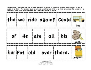 Back to School Activities Sight Word Sentences