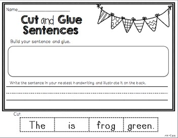 Cut and Glue Sentences BUNDLED