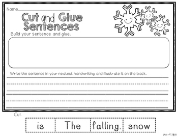Winter and Holiday Cut and Glue Sentences