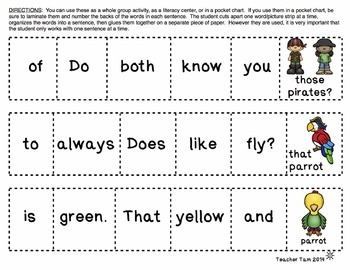Cut-and-Glue Sentences for 2nd and 3rd: Pirate Theme