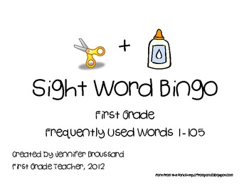 Cut and Glue Sight Word Bingo