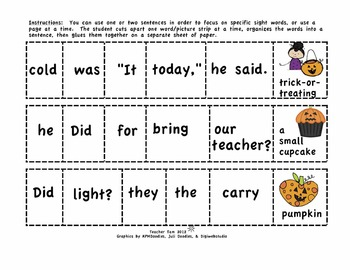 Halloween Cut-and-Glue Sentences for 2-3