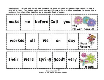 Sight Word Cut-and-Glue Sentences for Second and Third Grade: Spring Theme
