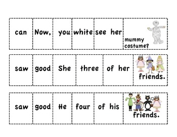 Halloween Cut-and-Glue Sentences for K-1